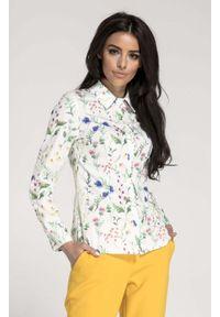 Nommo - Biała Taliowana Koszula Damska w Kwiatki. Kolor: biały. Materiał: wiskoza, poliester. Wzór: kwiaty