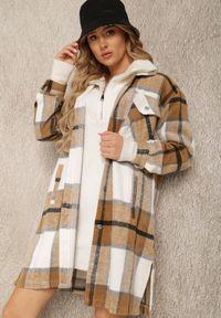 Renee - Ciemnobeżowa Koszula Rhodiphae. Kolor: beżowy. Długość: długie. Wzór: aplikacja. Styl: elegancki