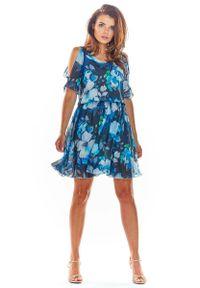Niebieska sukienka wizytowa Awama w kwiaty, na lato