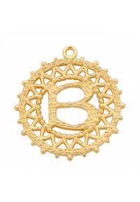 MOKOBELLE - Choker łańcuszkowy z literką 43 cm. Materiał: pozłacane, srebrne. Kolor: złoty. Wzór: aplikacja, ażurowy