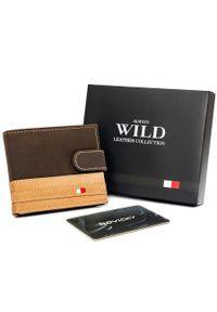ALWAYS WILD - Portfel męski brązowo-beżowy Always Wild N1662L-R-RFID BR+TAN. Kolor: beżowy, brązowy, wielokolorowy. Materiał: skóra