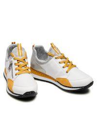 Rieker - Sneakersy RIEKER - N3081-80 Weiss. Okazja: na co dzień, na spacer. Kolor: biały. Materiał: skóra ekologiczna, materiał. Szerokość cholewki: normalna. Sezon: lato. Styl: casual