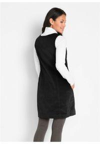 Sukienka sztruksowa ze stretchem na ramiączkach bonprix czarny. Kolor: czarny. Materiał: sztruks. Długość rękawa: na ramiączkach