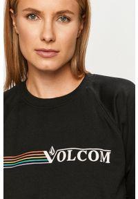 Czarna bluza Volcom z długim rękawem, na co dzień, z nadrukiem, bez kaptura