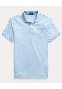 Ralph Lauren - RALPH LAUREN - Niebieska koszulka Slim Fit Soft. Okazja: na co dzień. Typ kołnierza: polo. Kolor: niebieski. Materiał: bawełna, prążkowany. Wzór: kolorowy, haft, melanż. Styl: casual #4