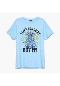 Cropp - Koszulka z nadrukiem - Niebieski. Kolor: niebieski. Wzór: nadruk