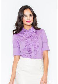 Fioletowa koszula Figl elegancka, z falbankami