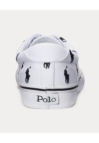 Ralph Lauren - RALPH LAUREN - Białe tenisówki Thorton. Nosek buta: okrągły. Kolor: biały. Materiał: guma. Wzór: napisy, haft