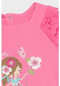 Różowa sukienka Mayoral rozkloszowana, z krótkim rękawem, z aplikacjami, mini