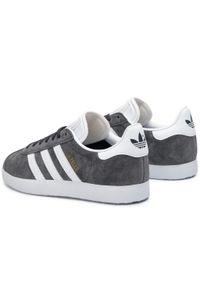 Szare buty sportowe Adidas Adidas Gazelle, z cholewką, w paski