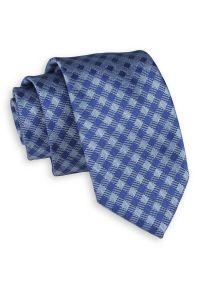 Granatowo-Niebieski Elegancki Krawat -Chattier- 7cm, Męski, w Kratkę. Kolor: niebieski. Materiał: tkanina. Wzór: kratka. Styl: elegancki