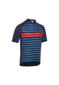 TRIBAN - Koszulka rowerowa Triban RC100 MARYNARSKA. Kolor: niebieski. Materiał: poliester, elastan, materiał. Długość rękawa: krótki rękaw. Długość: krótkie. Sport: kolarstwo
