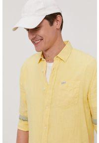 Żółta koszula Pepe Jeans na co dzień, z klasycznym kołnierzykiem, z długim rękawem, gładkie