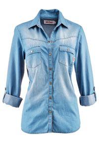 Bluzka dżinsowa z napami, długi rękaw bonprix średni niebieski. Kolor: niebieski. Długość rękawa: długi rękaw. Długość: długie
