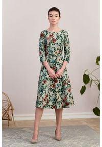 Marie Zélie - Sukienka Galatea Flores. Materiał: bawełna, wiskoza, materiał, elastan, skóra