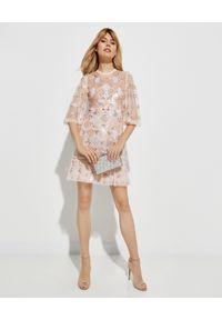 NEEDLE & THREAD - Sukienka mini Rose Diamond. Kolor: beżowy. Materiał: tiul. Wzór: haft, kwiaty, aplikacja. Długość: mini