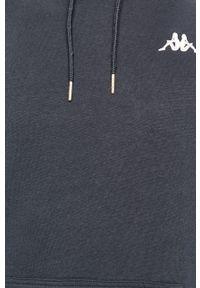 Niebieska bluza nierozpinana Kappa z aplikacjami, z kapturem, na co dzień