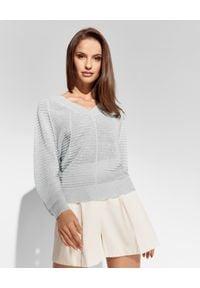 CAPPELLINI - Miętowy sweter z lnu. Kolor: zielony. Materiał: len