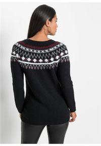 Czarny sweter bonprix w prążki, na jesień