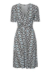 Beżowa sukienka Amy's Stories elegancka, kopertowa, z kopertowym dekoltem, z krótkim rękawem