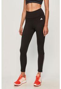 Czarne legginsy Adidas z aplikacjami, z podwyższonym stanem
