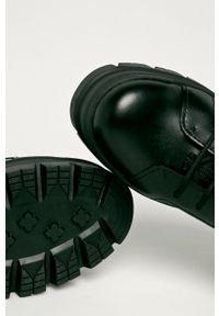Czarne botki Ugg na średnim obcasie, z okrągłym noskiem, na obcasie, na sznurówki