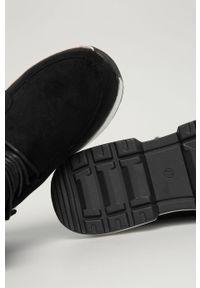 Czarne botki Answear Lab wakacyjne, z cholewką, na sznurówki, na średnim obcasie