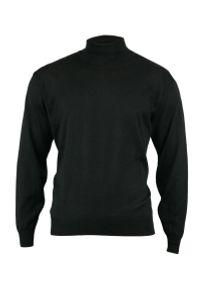Czarny sweter MM Classic klasyczny, z golfem