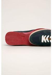 Niebieskie sneakersy Trussardi Jeans z okrągłym noskiem, na sznurówki