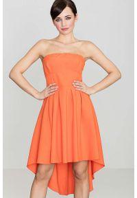 Pomarańczowa sukienka Katrus z odkrytymi ramionami