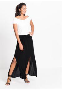 Długa spódnica z rozporkami bonprix czarny. Kolor: czarny. Długość: długie #3
