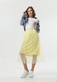 Born2be - Żółta Spódnica Oceane. Kolor: żółty