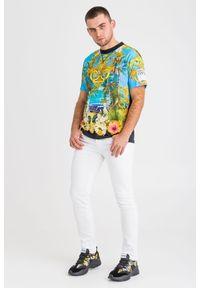 T-shirt Versace Jeans Couture w kolorowe wzory, z okrągłym kołnierzem