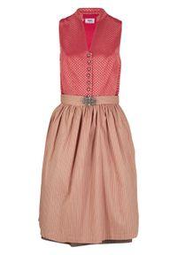 Wygodna sukienka w ludowym stylu bonprix czerwony koralowy. Kolor: różowy. Materiał: żakard