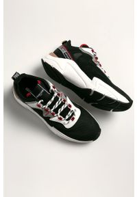 Czarne sneakersy ROBERTO CAVALLI SPORT na sznurówki, z cholewką