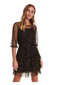 TOP SECRET - Tiulowa sukienka w kropki. Okazja: na co dzień, na imprezę. Kolor: czarny. Materiał: tiul. Wzór: kropki. Sezon: zima. Styl: casual