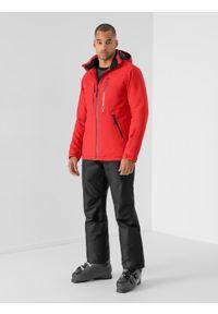 4f - Kurtka narciarska membrana 8 000 męska. Typ kołnierza: kaptur. Kolor: czerwony. Materiał: materiał, poliester. Sezon: zima. Sport: narciarstwo