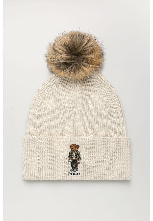 Beżowa czapka Polo Ralph Lauren z aplikacjami