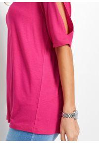 Shirt z koronką bonprix różowy. Kolor: różowy. Materiał: koronka. Wzór: koronka