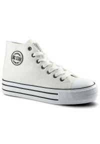 Big-Star - Trampki BIG STAR GG274013 Biały. Zapięcie: pasek. Kolor: biały. Materiał: jeans, skóra ekologiczna, materiał. Szerokość cholewki: normalna. Wzór: paski. Styl: sportowy