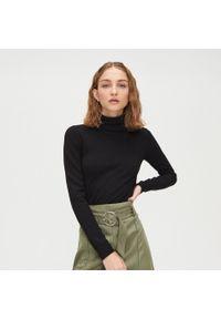 Czarny sweter Cropp gładki, z golfem