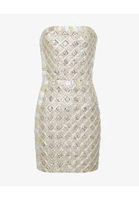 RETROFETE - Sukienka z cekinami Heather. Kolor: srebrny. Wzór: aplikacja. Typ sukienki: z odkrytymi ramionami. Długość: mini