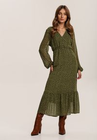 Renee - Zielona Sukienka Wheatmore. Kolor: zielony. Wzór: kropki. Długość: midi