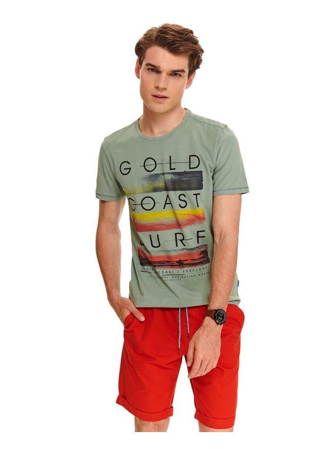 Zielony t-shirt TOP SECRET z nadrukiem