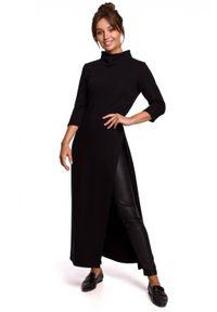 BE - Długa tunika z wysokim kołnierzem i rozcięciem czarna. Kolor: czarny. Materiał: bawełna, dzianina. Długość: maxi