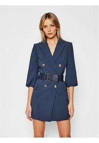 Elisabetta Franchi Sukienka koktajlowa AB-048-06E3-V549 Granatowy Slim Fit. Kolor: niebieski. Styl: wizytowy