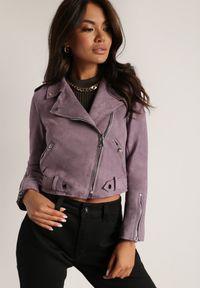 Renee - Fioletowa Ramoneska Charlee. Kolor: fioletowy. Materiał: jeans, zamsz. Długość rękawa: długi rękaw. Długość: długie. Wzór: aplikacja. Styl: wizytowy, klasyczny