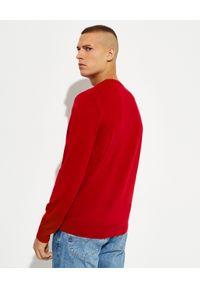 Ralph Lauren - RALPH LAUREN - Czerwony sweter z haftowanym logo. Typ kołnierza: polo. Kolor: czerwony. Materiał: wełna. Długość rękawa: długi rękaw. Długość: długie. Wzór: haft. Styl: klasyczny