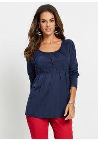 Shirt z długim rękawem bonprix ciemnoniebieski. Kolor: niebieski. Długość rękawa: długi rękaw. Długość: długie