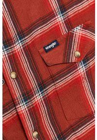 Brązowa koszula Wrangler na co dzień, długa, z klasycznym kołnierzykiem, klasyczna